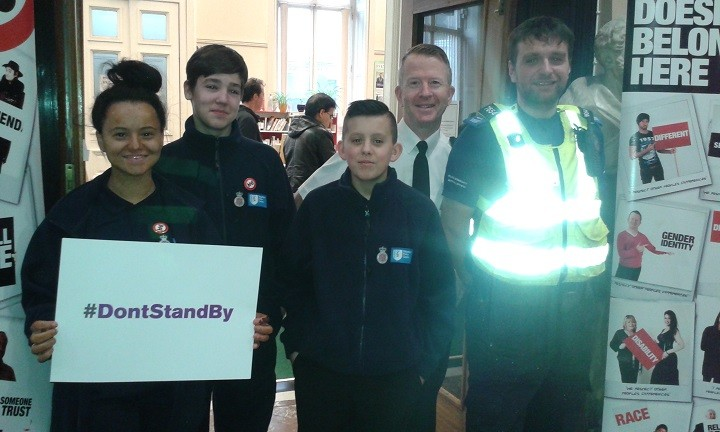 Police cadets Keighley, Liam and Kai with PC Stuart Rutledge and PCSO Stephen Connolly