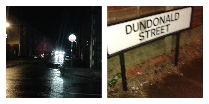 Police vehicles remained in Dundonald Street on Friday evening