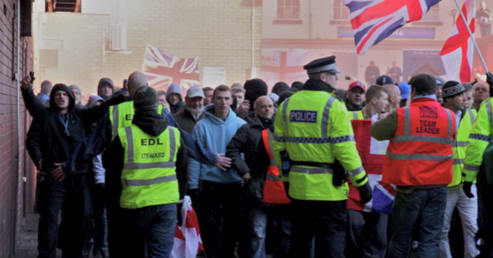 Police at the EDL demo in Preston in November 2010