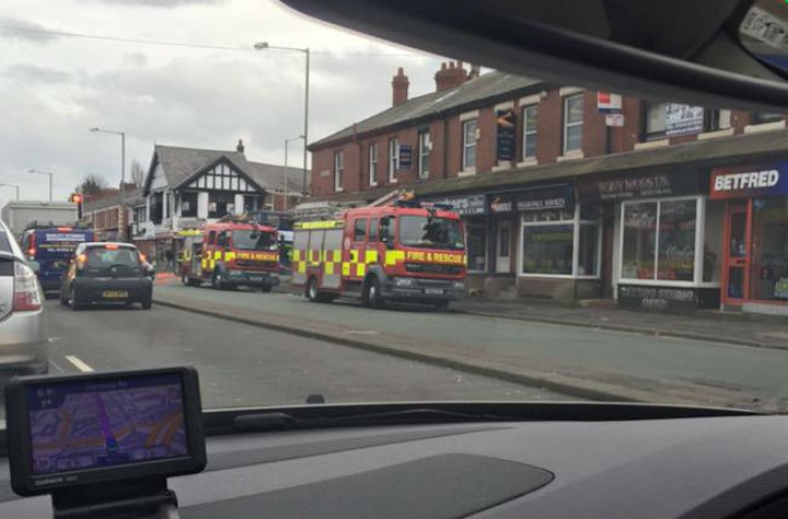 Firefighters in Lane Ends on Monday lunchtime Pic: Jack Lyon