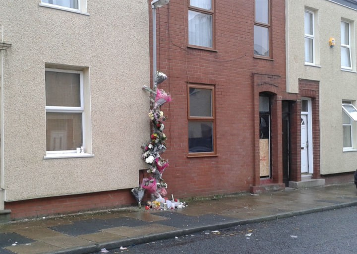 Floral tributes to Liam at the scene in Dundonald Street on Saturday morning