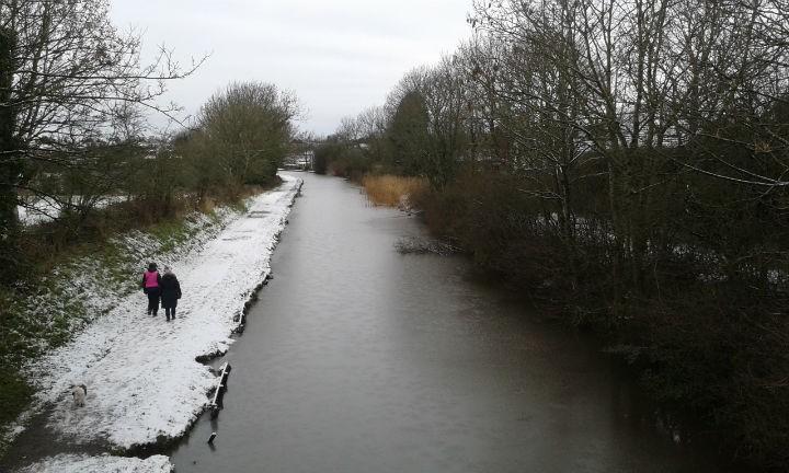 Frozen Lancaster Canal at Haslam Park