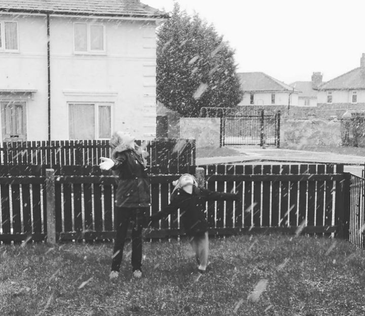 Noreen McAiney sent her kids out to enjoy the snow in Ribbleton