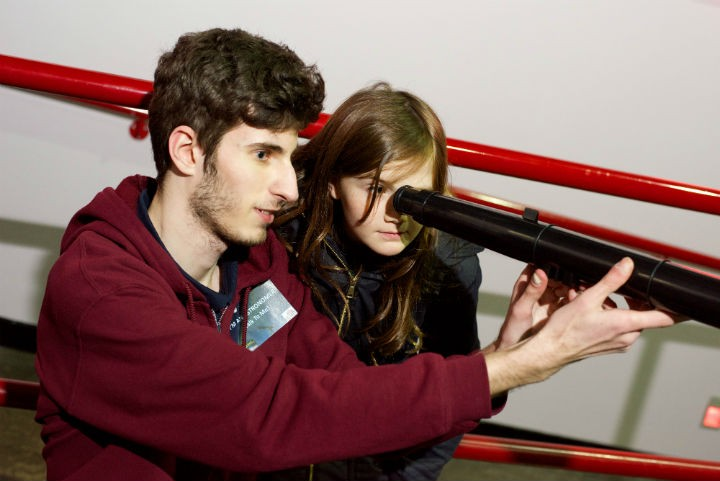 Kate Whelan from Cottam Primary School with Steven Gough – Kelly, a first year astronomy and physics student from UCLan