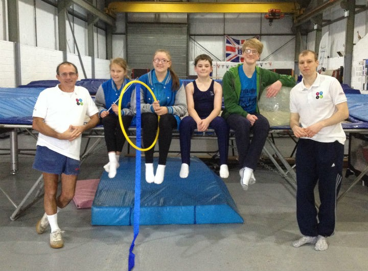 The trampoline club, from left to right: Ray Wort, Caitlin Yates, Symone Lishman, Jake Fisher, Jack Edmondson and Sean Dean