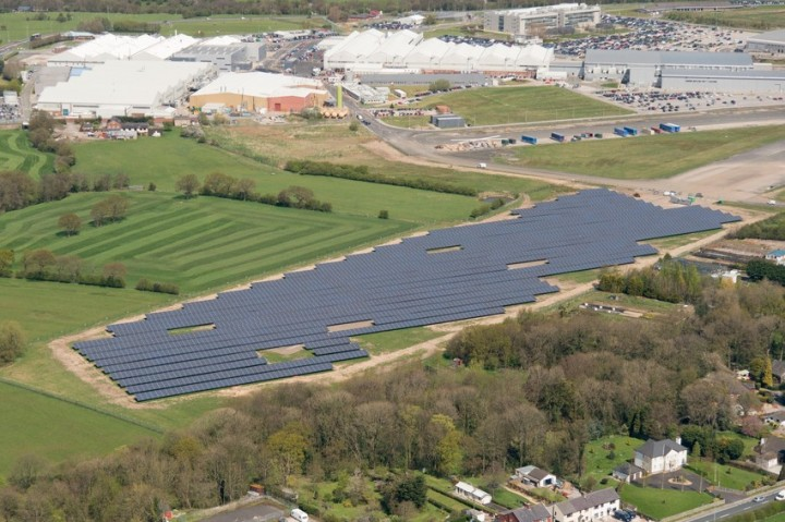 The solar farm at the Samlesbury site