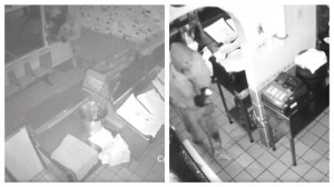 CCTV stills show a man entering the premises, and on the right working to unplug the till