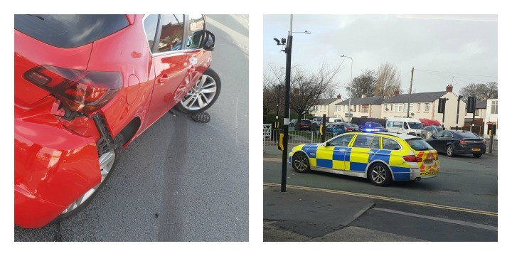 The Vauxhall involved in the crash and the police stopping traffic Pics: Paul Iddon