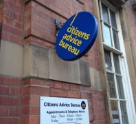 Sign left on an angle at Birley Street charity