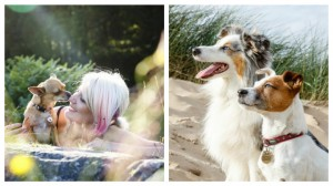 Cat and her dog Poppy, left, and one of her portrait shots on the right