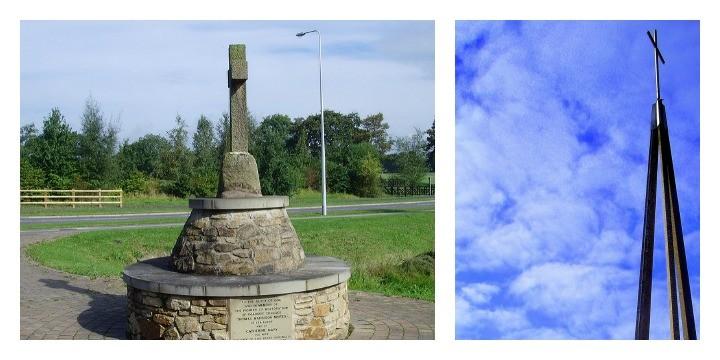 Lea cross in Cottam and the Lea Methodist Church spire Pics; Tony Worrall