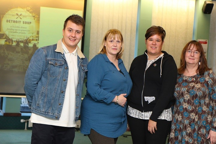 UCLan Graduate Intern Blaine Walsh, UCLan Enterprise Manager Sally Bate, founder of Detroit Soup Amy Kaherl and Anne Newman, UCLan Enterprise Development Manager.