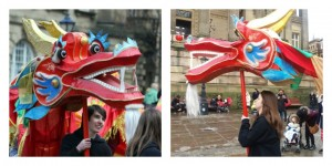 The dragon making its way to the Flag Market for Chinese New Year