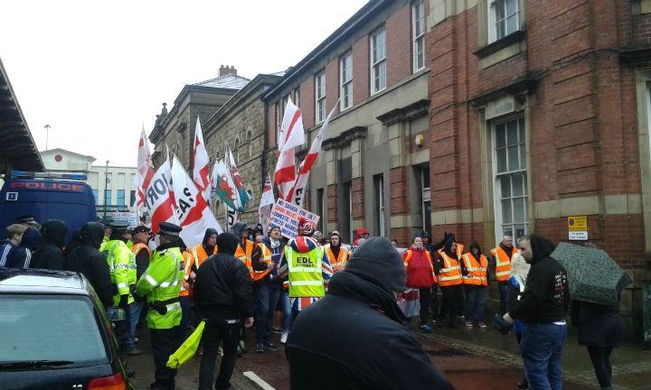 English Defence League march in Preston