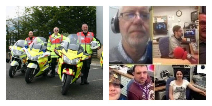 Blood bikers, left, and hospital radio volunteers, right