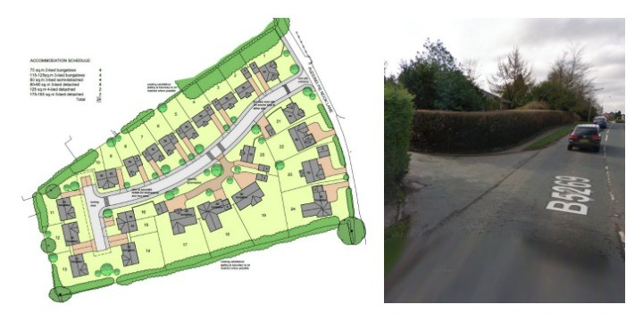 Aerial view of the proposed homes and on the right the entrance from Whittingham Lane Pic: Google
