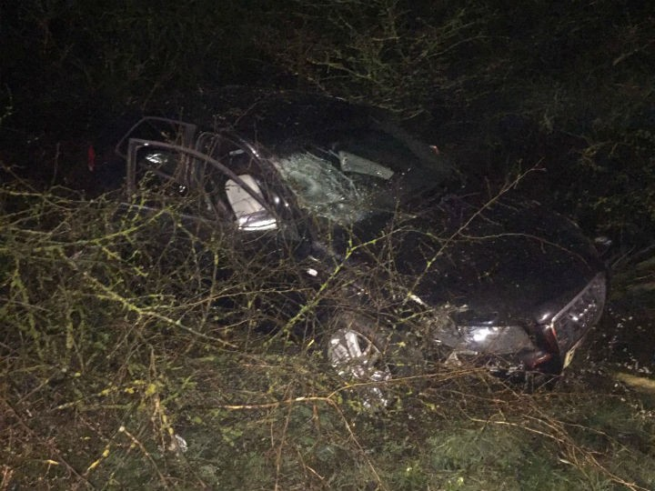 Police shared a picture of the car on the edge of the road Pic: LancsRoadPolice