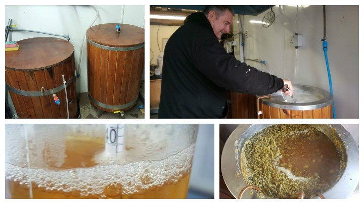 Ian Grant, top right, busy brewing in his garage