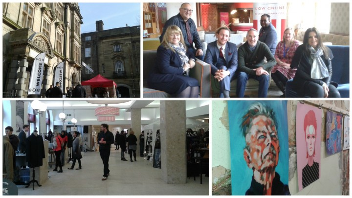 The Old Post Office in the sunshine, the team behind BOB North, inside the main foyer and seeing the David Bowie inspired artwork