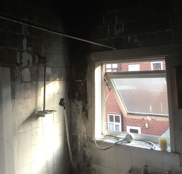 The charred remains of the bathroom Pic: Lancashire Fire and Rescue Service