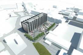 Aerial view of the proposed building