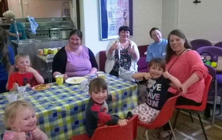 Families enjoying the 'Messy Church'