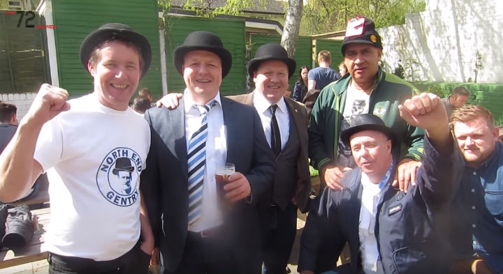 PNE fans enjoying a Gentry Day in Brentford in 2014
