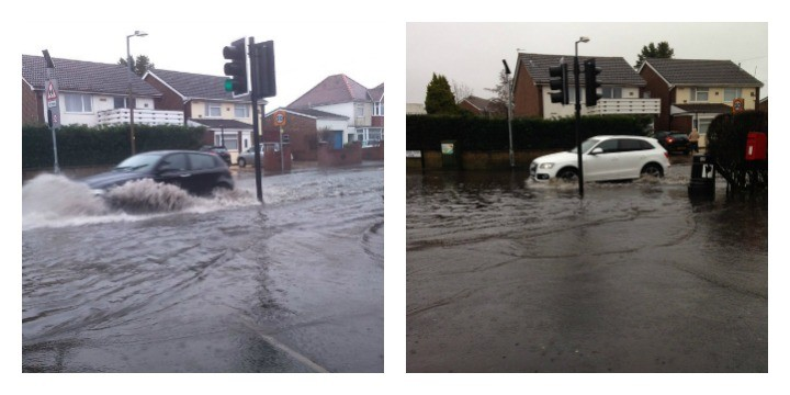Cars making their way through the floodwater Pics: Emma Caffrey and Mark Jewell