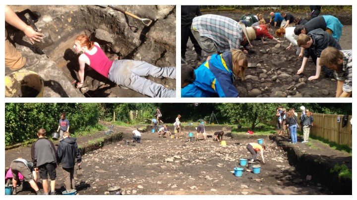 Students and volunteers digging at Ribchester