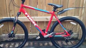 The red Trek bike which has been taken