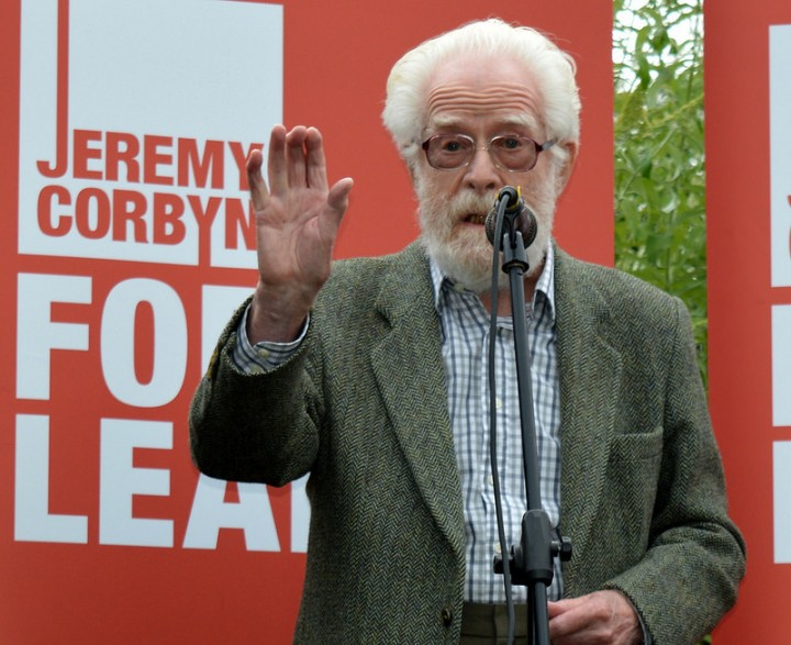 Ron Atkins speaking in summer 2015 at a rally for Jeremy Corbyn at the Continental pub in Preston