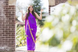 A sari-fitting service is part of the event at the hospice