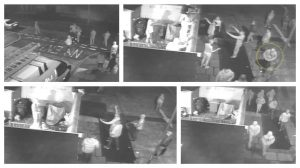 CCTV pictures were shown in court of trouble flaring in the early hours