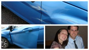 Damage to the car and couple Jennifer and Paul were left shaken by the incident