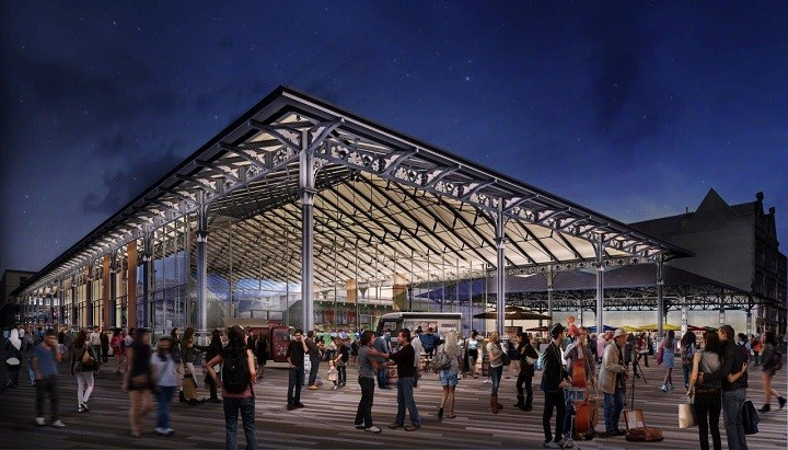 The Market canopy lit at night & Inside the building work for Prestonu0027s new market hall | Blog Preston