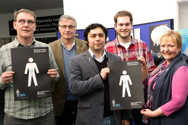 Left to right - Kevin Vardy, Cambridge Oncometrix chief scientist Dmitry Soloviev, Cambridge Oncometrix CEO Maxim Rossmann, UCLan biomedical masters student Joe Mather and Dr Carole Rolph, senior lecturer in Clinical Biochemistry.