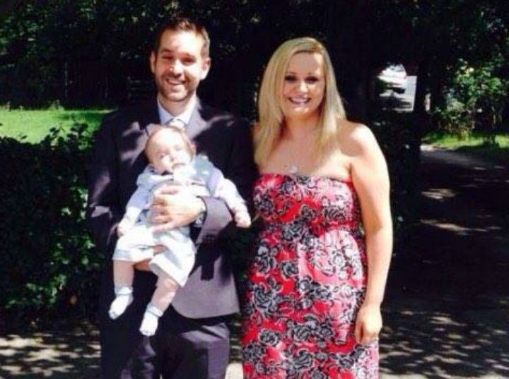 Tony and Jenna with AJ at his christening
