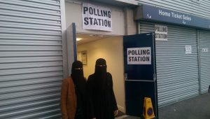 Two Muslim women voting at Deepdale polling station