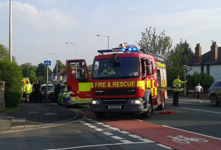 Both cars were on the side of the road heading into Preston city centre