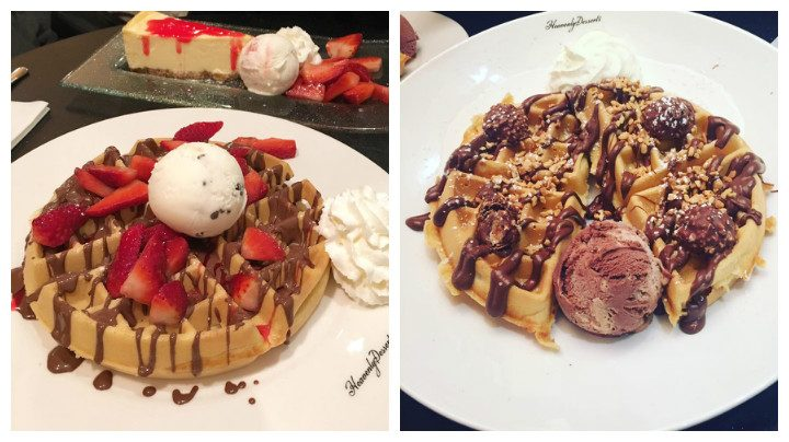 Two waffle-based desserts at other Heavenly Desserts restaurants
