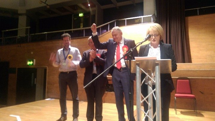 Larches ward winner being announced during the Preston council elections. Alice Buchanan was not present, or any other Conservative party representative.