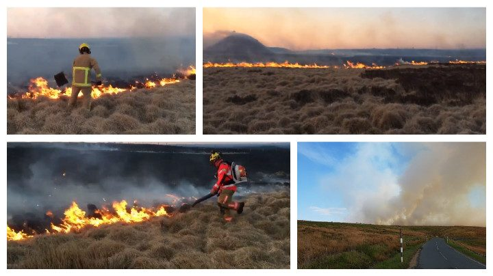 Fire crews tackling the flames on the moors near Darwen