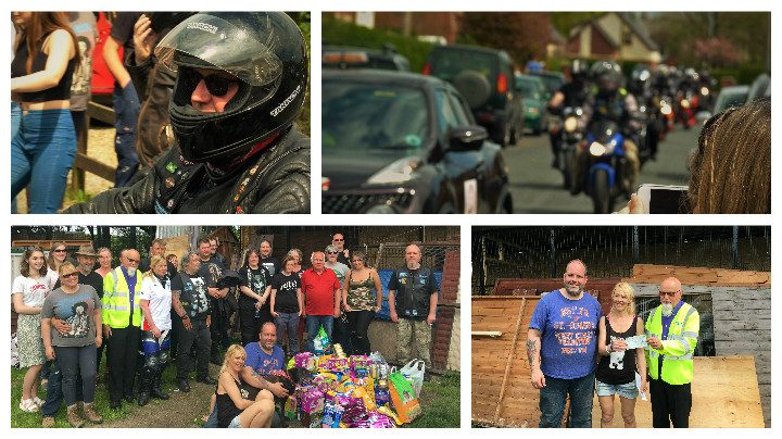 The bikers procession and donating the goods to Noah's sanctuary