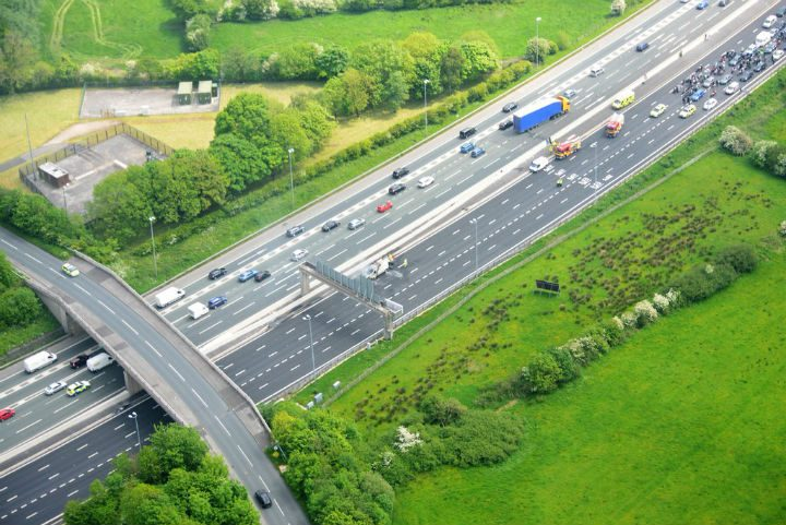 All lanes were closed on the M6 northbound near Preston during the incident Pic: NPAS Warton