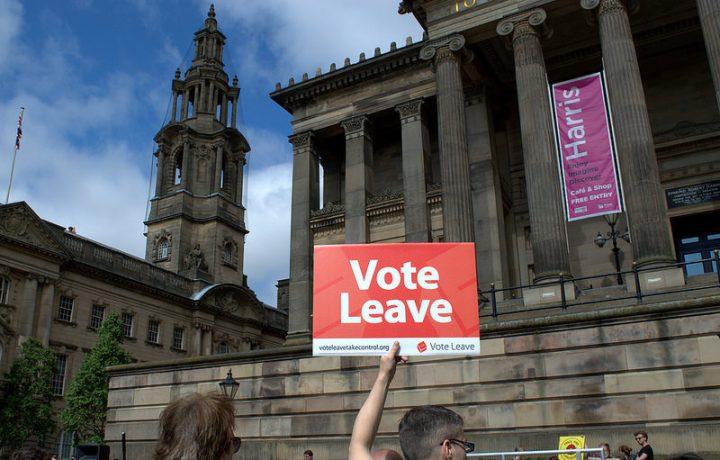 A vote leave campaigner in Preston Pic: Tony Worrall