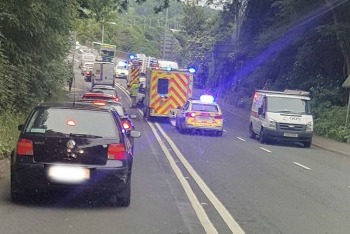 Emergency services at the scene in Brockholes Brow near the Tickled Trout Hotel Pic: Adrian Dorin