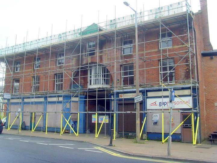 Scaffolding is up at Church Court Pic: Tony Worrall