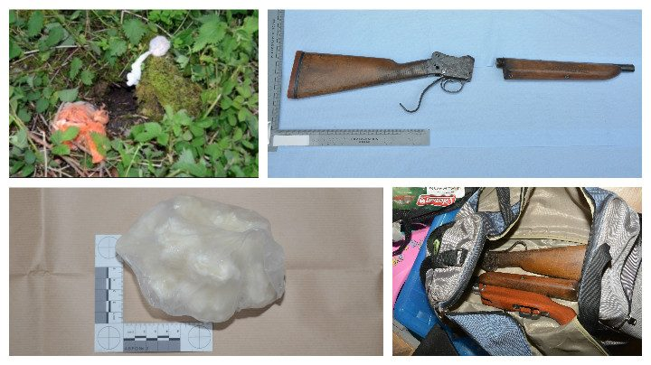 Drugs found in a hide in Fishwick bottoms, a rifle and ammunition recovered, and bottom left, a bundle of Class A drugs