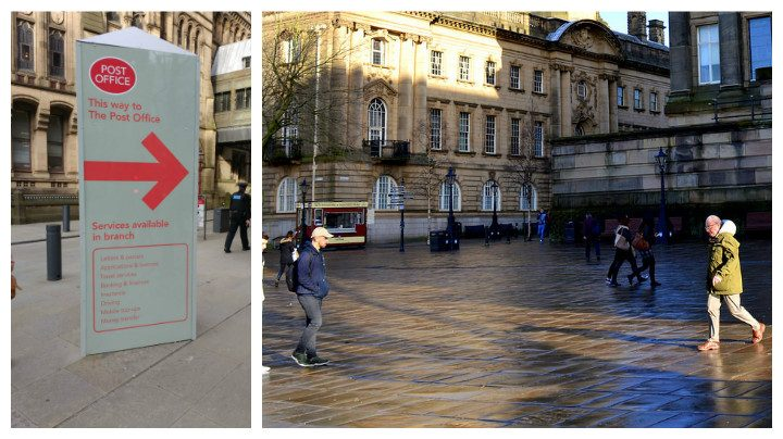 An example of the 'totem pole' three-sided signs and Preston's Flag Market Pic: Tony Worrall
