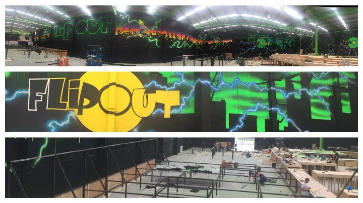 Inside the new trampoline park